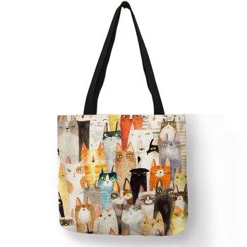 รูปแบบน่ารักผู้หญิง Totes แมวการ์ตูนน่ารักภาพพิมพ์กระเป๋าถือ Eco ผ้าลินินแฟชั่นการเดินทางกระเ...