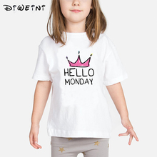 Hello week Letter print t-shirt Toddler Child Summer Short Sleeve T-Shirt Kids White T Shirts Baby girl casual TShirt Girl Tops newest baby girl tops shirt kids child toddler soft cotton fall t shirt tee