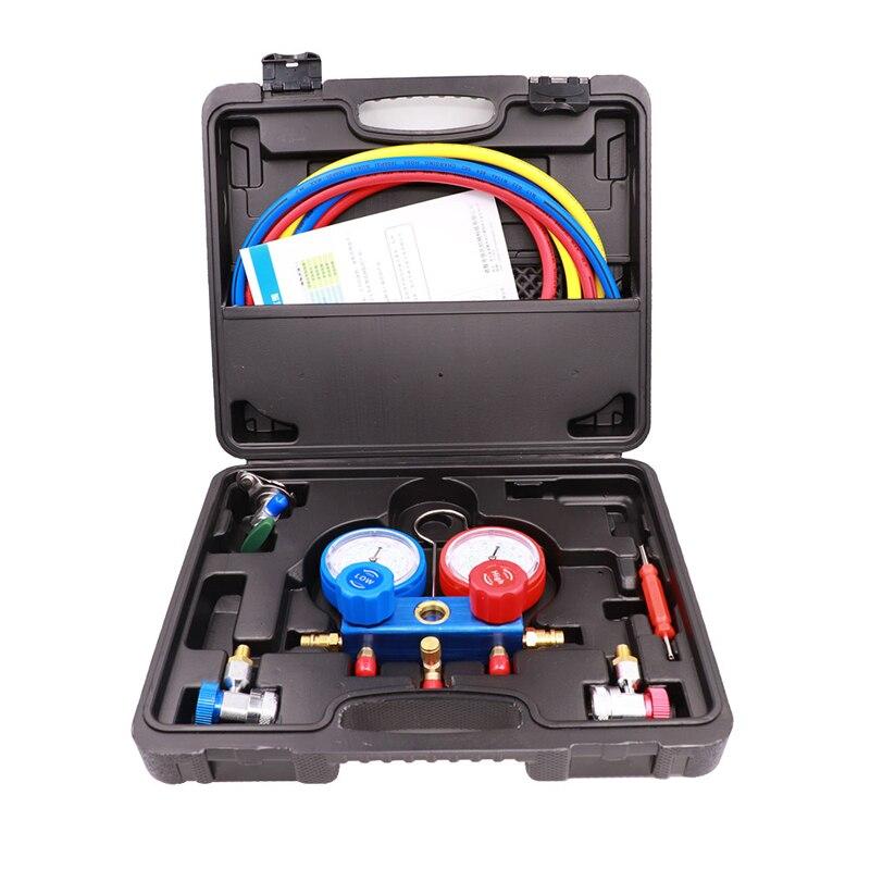 Ensemble d'outils d'entretien de jauge de collecteur de climatisation de réfrigération ensemble de voiture R134A avec étui de transport réfrigérant de Diagnostic AC