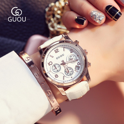 Top GUOU Watch Lady Brand Famous WristWatch Fashion Three eyes Luxury Women Watches Waterproof Leather Quartz Watch Montre Femme skmei 6911 womens automatic watch women fashion leather clock top quality famous china brand waterproof luxury military vintage