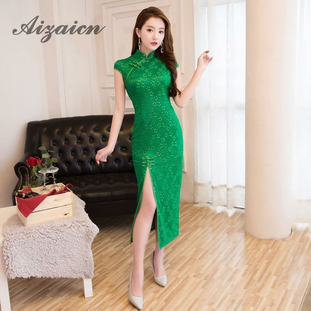 Fashion Green Qipao Lace Long Cheongsam Dress Summer Women Sexy Flowers  Traditional Chinese Wedding Gowns Oriental Collars 34446e8dd823