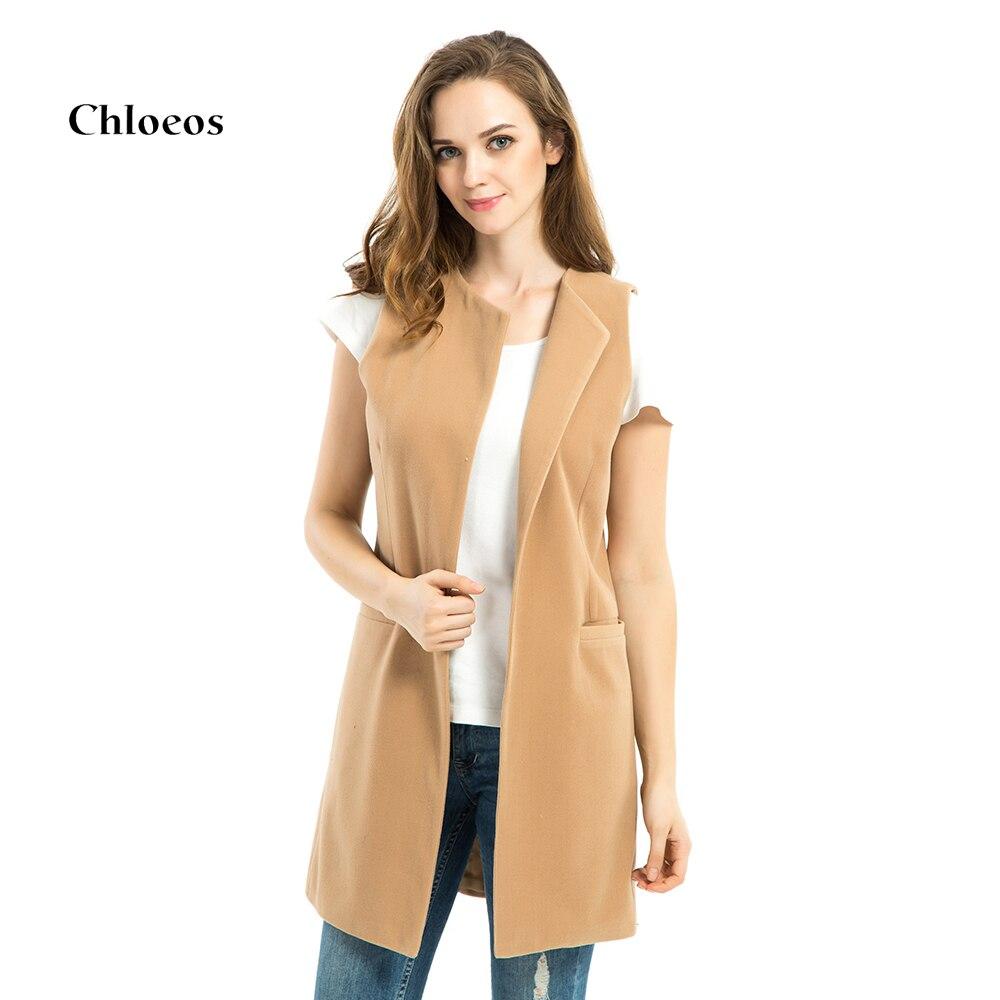 CHLOEOS Women Spring Wool Blend Vest Waistcoat Ladies Long Camel Vest Sleeveless Women Jacket Coat Plus Size Chaleco de mujer