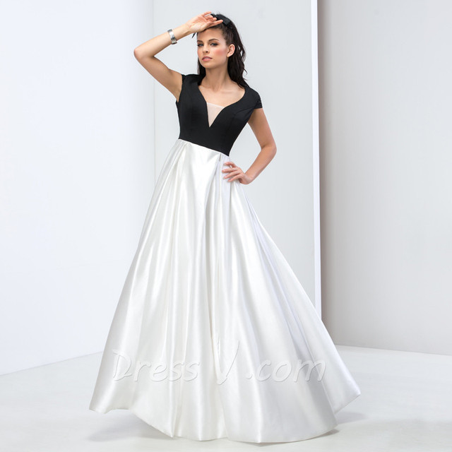 Aliexpress.com : Buy Black & White Long Evening Dresses Vintage A ...