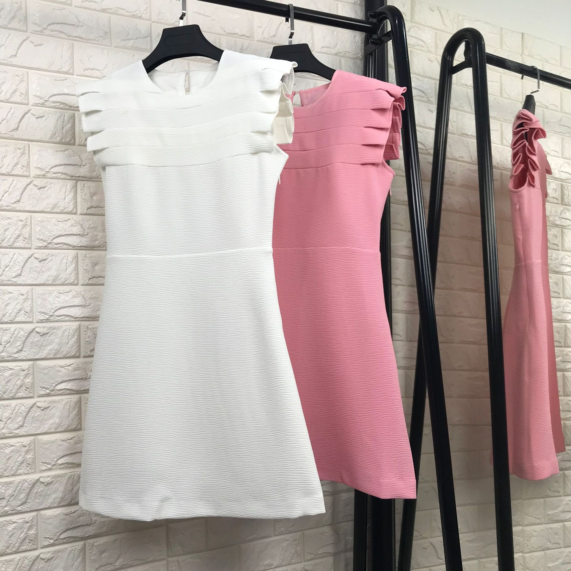 New 2018 spring summer fashion women girls cute ruched sleeve a-line mini white dress solid color brief dresses pink