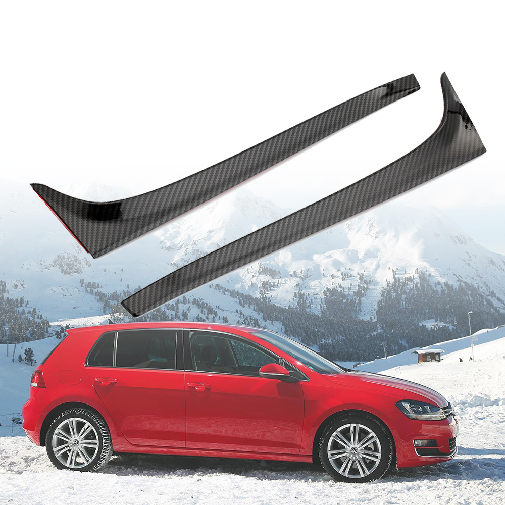 carbon fiber Side Rear Wing Spoiler Lip Cover Trim Sticker For Volkswagen VW <font><b>GOLF</b></font> 7 MK7 7.5 GTI GTD <font><b>R</b></font> 2014 2015 2016 2017 <font><b>2018</b></font> image