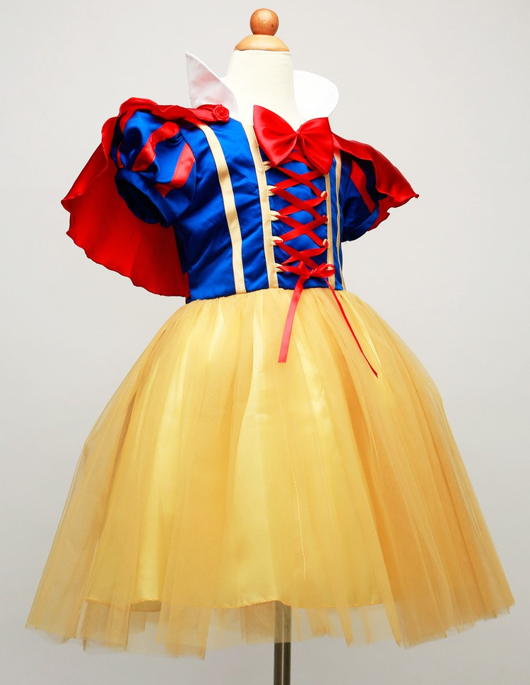 2015-New-Hot-Sale-Snow-White-Princess-Dress-with-Red-Cape-and-Bow-Kids-Girl-Dresses