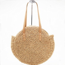 Round Straw weaving handbag shoulder bags female beach crossbody for women summer Handmade Woven purse