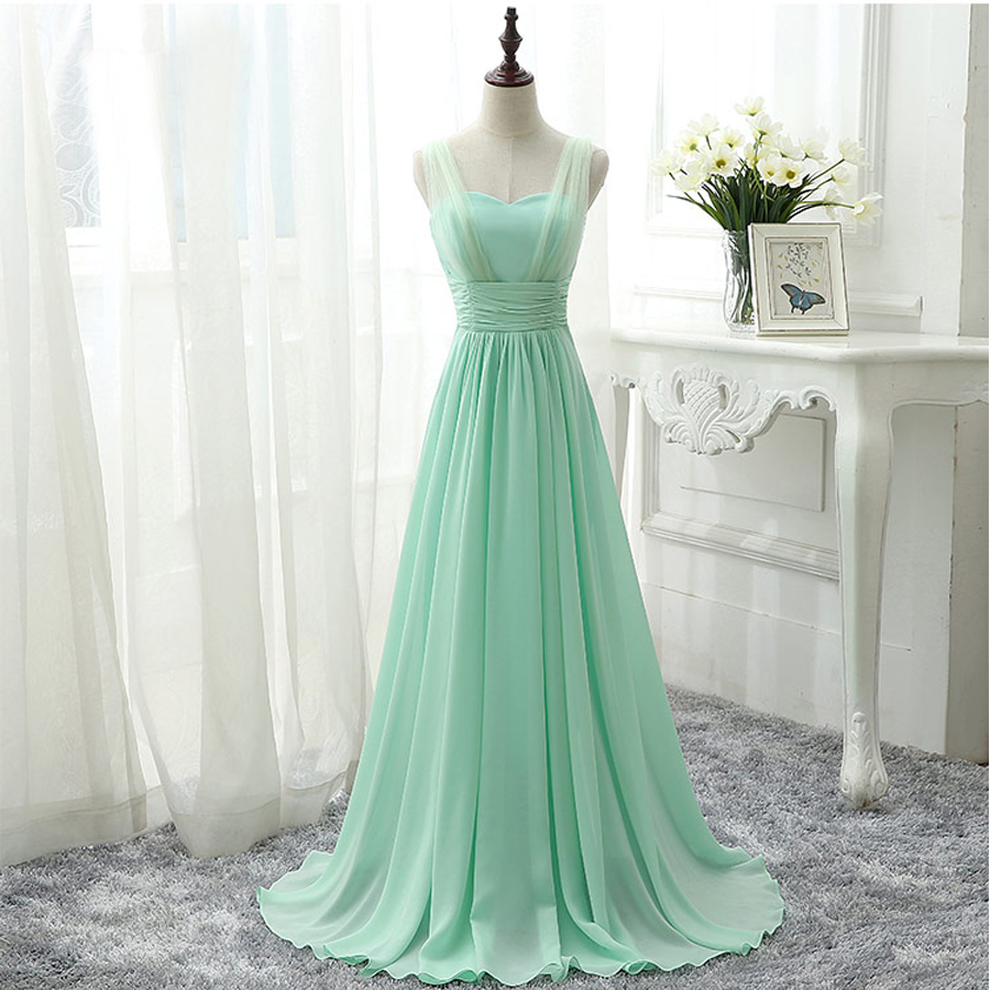 Robe demoiselle d honneur2018 sexy V neck Tulle and chiffon a line mint  green royal 44d779038b6b