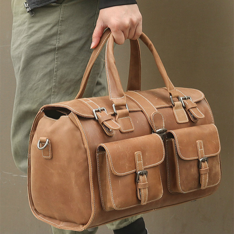 Spring Men's Bag Top Layer Cowhide Luggage Retro Crazy Horse Leather Travel Handbag