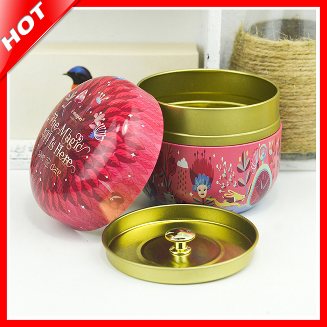 2018 Hot Tea Tins Round Tin Box With 2 Lids Candy Jewelery Storage