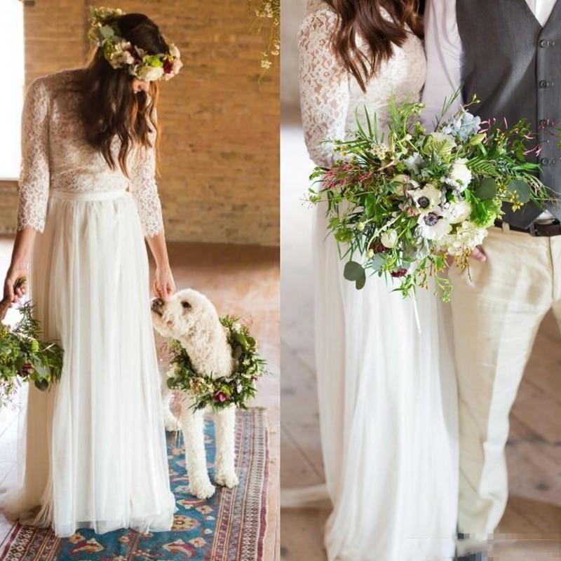 2017 Simple Beach Wedding Dresses 3 4 Long Sleeves Vintage: Vintage Lace Long Sleeve Boho Beach Wedding Dresses 2017
