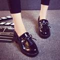 2016 spring and autumn black woman shoes retro tassel Bullock British Women College