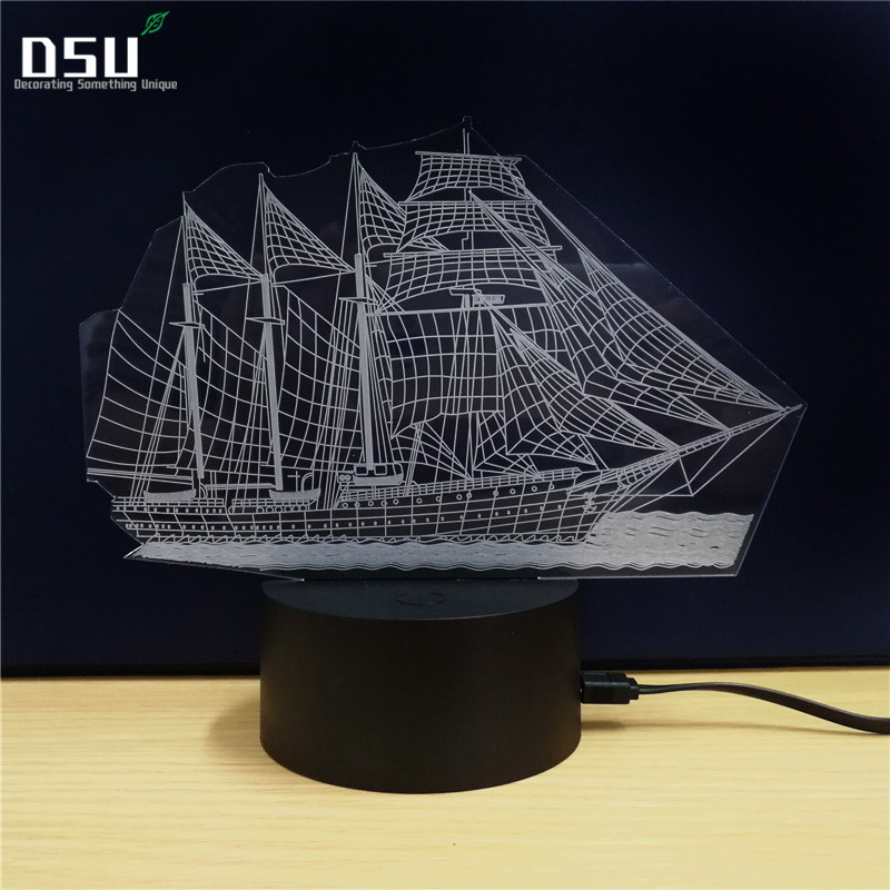 3D Table Lamp Boat Steamship Ship Shape Gift Acrylic Night Light Valentine's Day Gift Colorful 7 Color Change Household Home Acc