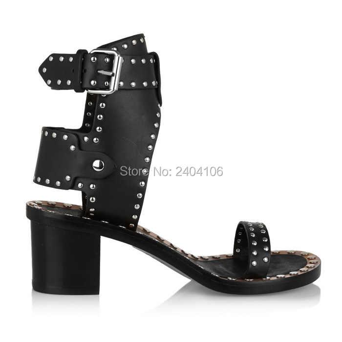 d5e597d42c5 ... Retro Rome Med Chunky Heel Black Leather Rivet Studded Gladiator Sandals  Women Open Toe Ankle Buckle ...