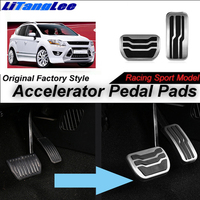 LitangLee Car Accelerator Pedal Pad Cover Foot Throttle Pedal Cover Sport Racing Model For Ford Kuga MK1 2008~2012 AT