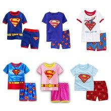 06941aeba Pijamas de niños 2019 nuevo lindo niños pijamas de algodón de verano de bebé  y niñas de manga corta de dibujos animados Superman.