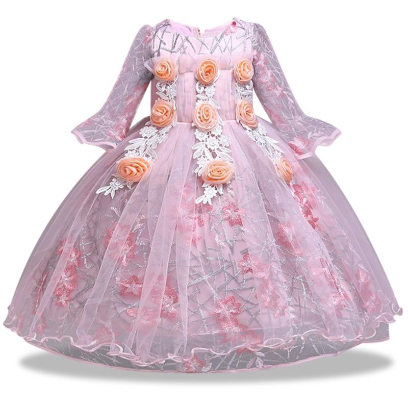 Flower Girl Wedding Bridesmaid Ball Party Petal Embroidery Dress Princess Children First Attended Exchange Banquet Dress