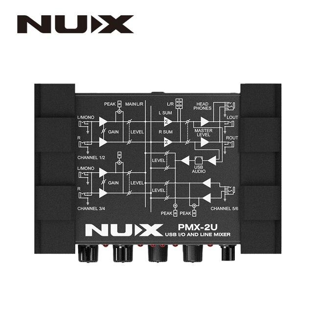 NUX PMX-2/PMX-2U i/o ligne table de mixage mini console de mixage USB console son 6/8 entrées 2 sorties indicateur de volume contrôle de niveau