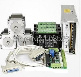 3 axis Nema23 stepper motor 428oz-in +3 Stepper Driver 4.2A DQ542MA Power +Supply for 350W,36VDC+DB25CNC controller kit