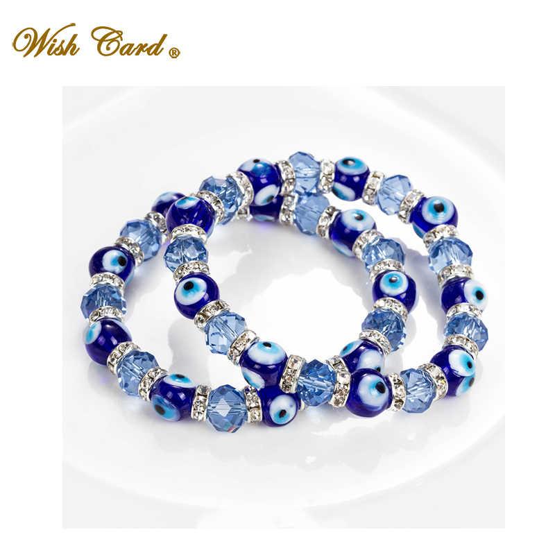 Carte de souhait bleu mauvais yeux chanceux verre perles Bracelet pour femmes hommes bijoux fer à cheval turc prière brin Bracelet cadeau EY5226