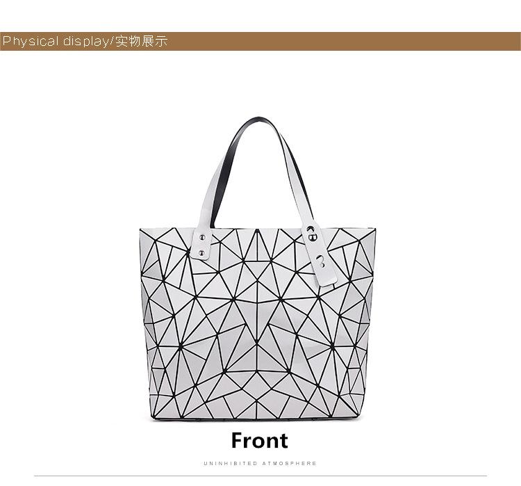 WSYUTUO Handbag Female Folded Ladies Geometric Plaid Bag Fashion Casual Tote Women Handbag Shoulder Bag 9