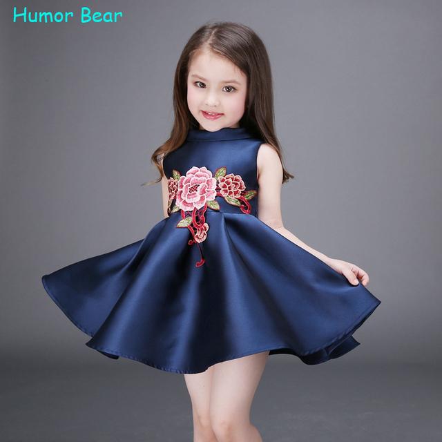 Humor Urso NEW baby meninas vestido de festa de aniversário Da Menina de Flor Festa de Casamento Batizado Pageant Vestido crianças roupas