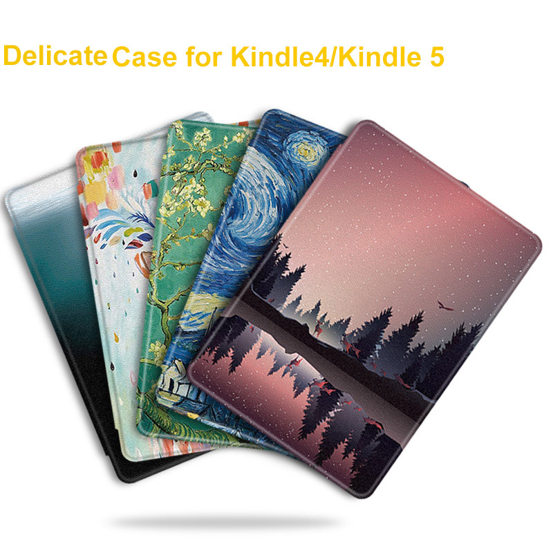BOZHUORUI Fashion PU Leather Painted Case for Amazon Kindle 4 kindle 5 Keyboard Version E reader