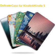 BOZHUORUI  Fashion PU Leather Painted Case for Amazon Kindle 4/kindle 5 Keyboard Version E-reader K4/K5 Ultrathin Delicate Cover