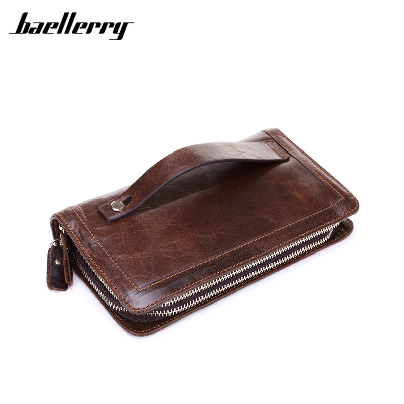 Baellerry Genuine Cow Leather Men Wallet 2017 Luxury Card ID Holder Business Wallet Male Fixed Wide Wristlet Double Zipper Purse fashion solid pu leather credit card holder slim wallet men luxury brand design business card organizer id holder case no zipper