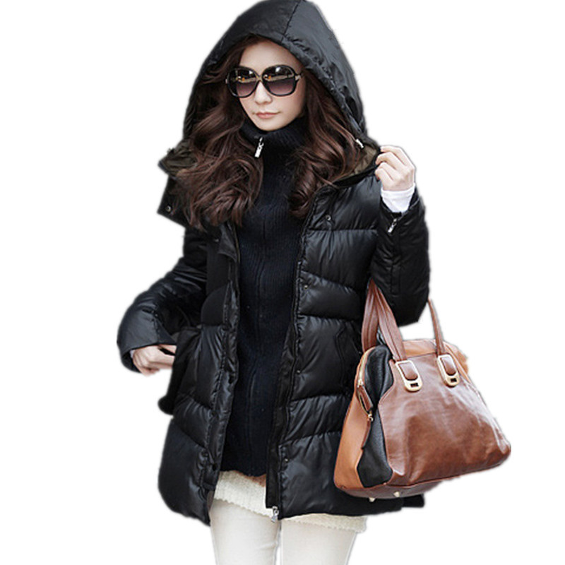Thick Hooded Zipper Winter Jacket Women Medium-long Cotton Large Size 5XL Parka Coat Solid Color Warm Jacket Women TT2458 winter women down cotton coat long section thick warm cotton jacket solid color wild pockets zipper casual jacket loose parka