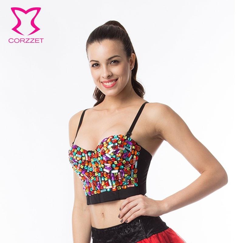 CORZZET Women Rainbow Crystal Beading Push Up Bra Party Wear
