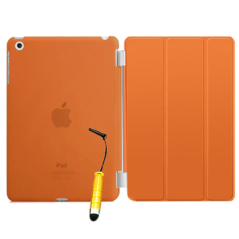 New Smart Stand Magnetic Leather Case Cover For Apple iPad 5/iPad Air colour:Orange Translucent
