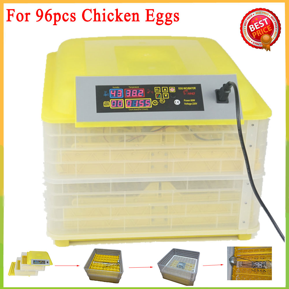 96 Egg Incubator Poultry Incubator Brooder Digital Temperature Control Hatchery Machine for Chicken Duck Bird Pigeon Eggs