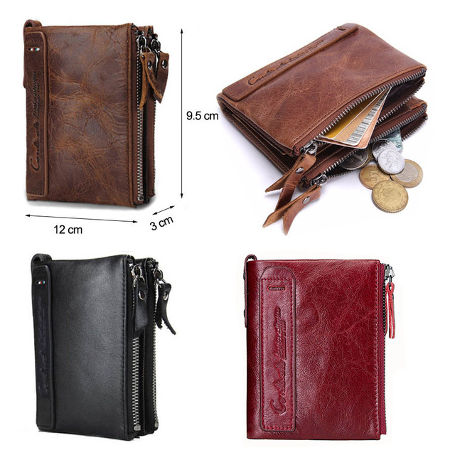 CONTACT'S HOT Genuine Crazy Horse Cowhide Leather Men Wallet Short Coin Purse Small Vintage Wallets Brand High Quality Designer 5