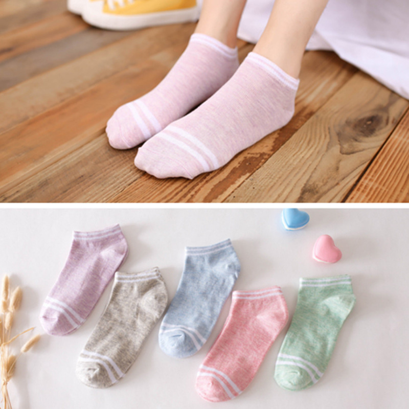 5Pairs/Set Women Cotton Comfortable All Season Wear Cute Candy Colors Striped Low Ankle Invisible Short   Socks   Wholesale