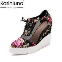 KarinLuna New Brand Shoes Big Size 34 42 Lace Upper Flowers Printing Spring Summer Shoes Pumps Women Wedges High Heels