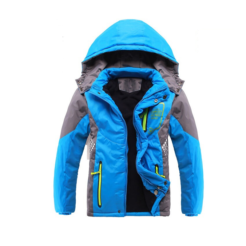 ФОТО Children Outerwear Warm Coat Sporty Kids Clothes Double-deck Waterproof Windproof Thicken Boys Girls Jackets Autumn and Winter