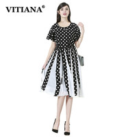 VITIANA Women Plus Size 7XL Vintage Dress Black Dot Short Sleeve Casual Chiffon Dresses Female Elegant