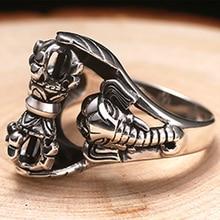 ZABRA Whirling Vajra Thai Elephant Gods Vintage 925 Silver Ring For Men Steampunk Retro Handmade Sterling Silver Male Jewelry