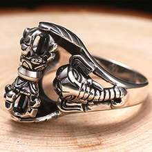 ZABRA Whirling Vajra Thai Elephant Gods Vintage 925 Silver Ring For Men Steampunk Retro Handmade Sterling Silver Male Jewelry