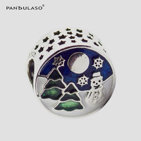 Pandulaso Snowy Wonderland Beads Fit Charm DIY Bracelets Blue Sky Green Enamel Christmas Tree Snow Moon