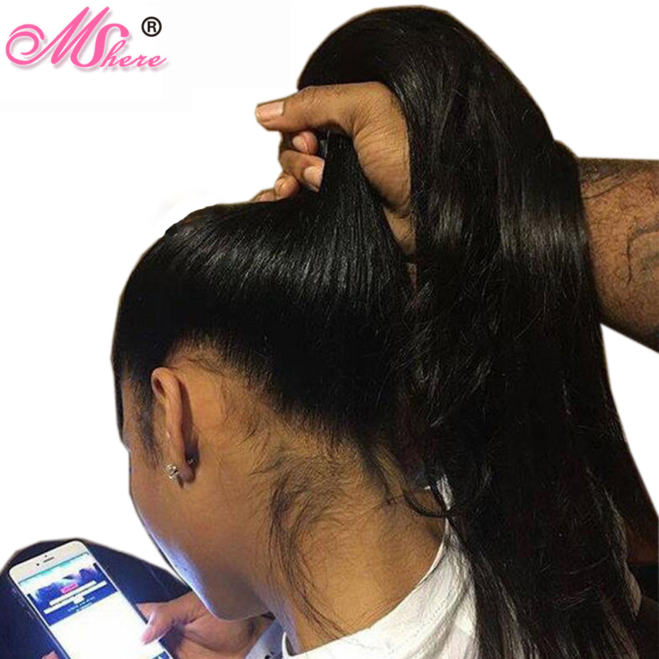 Mshere 360 Lace Frontal Wig Straight Wigs 150 Lace Front Wig Pre Plucked With Baby Hair