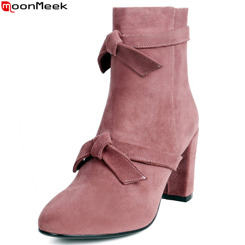 MoonMeek fashion autumn winter new arrive women boots kid suede ladies boots zipper butterfly knot square toe black pink moonmeek 2018 autumn winter new arrive