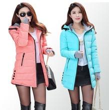 New Women Winter Hooded Warm Coat Plus Size Candy Color Cotton Padded Jacket Female Long Parka Womens Wadded Jaqueta Feminina цены онлайн