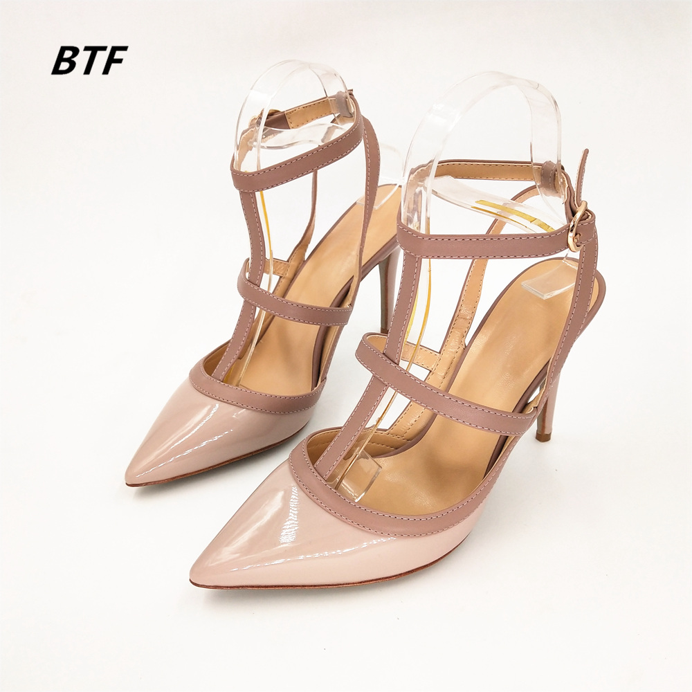Stkehidba New Classics Women High Heel Shoes Brand Sandals 10cm Thin Heel Pointed Toe Rivets Shoes Wedding Shoes Party Shoes-in Women's Pumps from Shoes    1