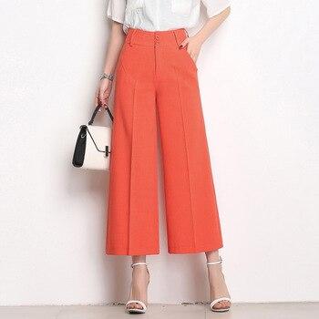 2018 las nuevas mujeres ancho de la pierna Pantalones de cintura alta más grande  tamaño moda mujer delgada de verano Pantalones blanco rojo 6XL 8f0f99d02caa