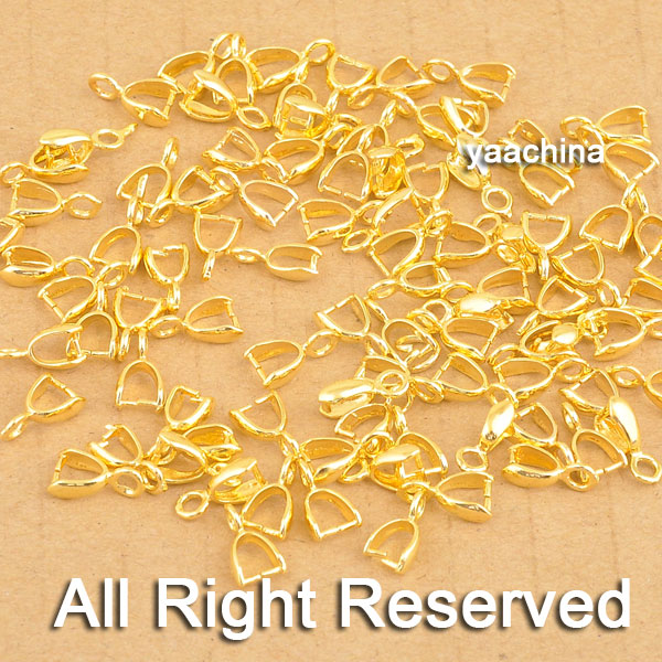 JEXXI 100PCS Wholesale Yellow Gold Filled Jewelry Findings Bail Connector Bale Pinch Bail Pendant Linker