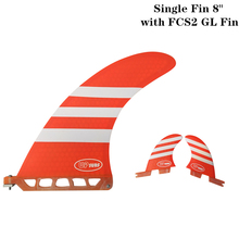 Surf longboard fin 8 inch Fin with FCS2 GL Fibreglass in Surfing single Red/Blue color