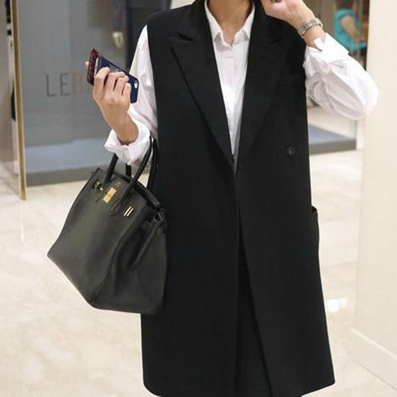 Long Vest Women 2015 Fashion Black Sleeveless Blazer Coat Female Casual  Slim Plus Size Vests Jackets For Women-in Vests   Waistcoats from Women s  Clothing ... ffa2d4d6bd