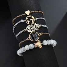 1set(5pcs) Popular Bracelet Fashion Turtle Pineapple Map Heart Set Bracelets For Women Jewelry Chain Dropshipping
